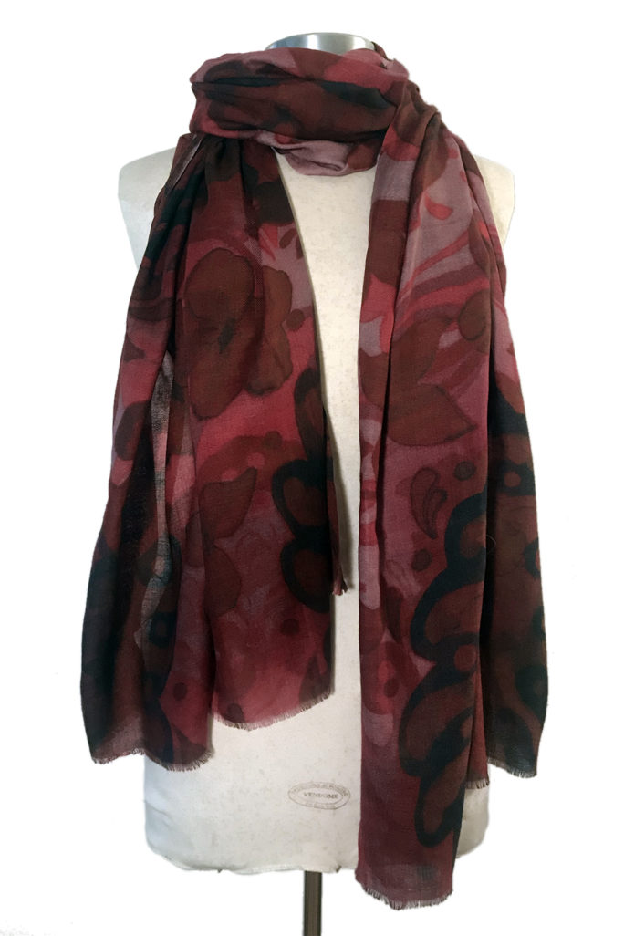 Bohemian Paisley Burgundy scarf